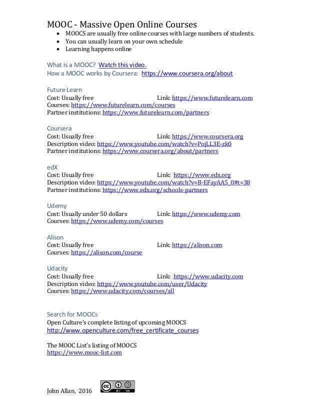 MOOC Starter's Sheet