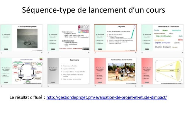 Séquence-type de lancement d'un cours  Le résultat diffusé : http://gestiondeprojet.pm/evaluation-de-projet-et-etude-dimpa...