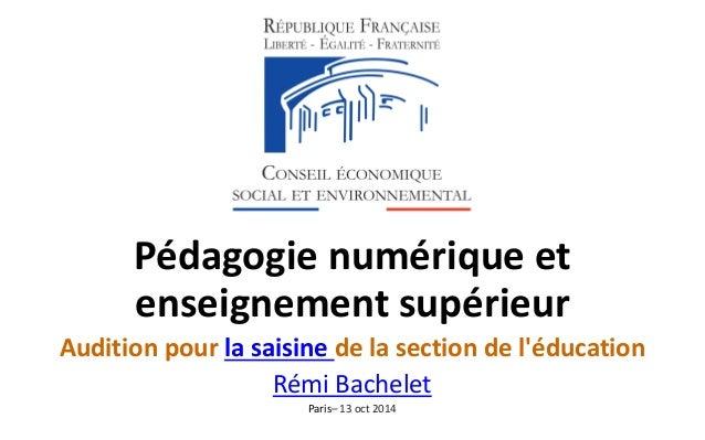 Pédagogie numérique et enseignement supérieur  Audition pour la saisine de la section de l'éducation  Rémi Bachelet  Paris...