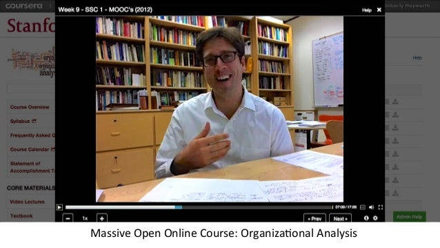 Massive	   Open	   Online	   Course:	   Organiza3onal	   Analysis