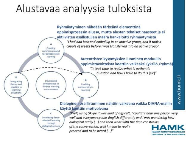 Alustavaa analyysia tuloksista Ryhmäytyminen nähdään tärkeänä elementtinä oppimisprosessin alussa, mutta alustan tekniset ...