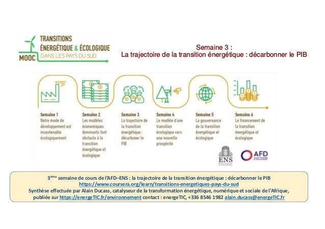 Semaine 3 : La trajectoire de la transition énergétique : décarbonner le PIB 3ème semaine de cours de l'AFD–ENS : la traje...