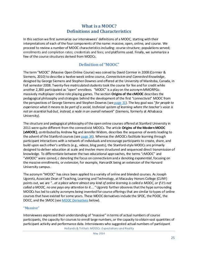 MOOCs: Expectations and Reality Full Report 2014