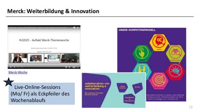 13 Merck-Woche Live-Online-Sessions (Mo/ Fr) als Eckpfeiler des Wochenablaufs Merck: Weiterbildung & Innovation