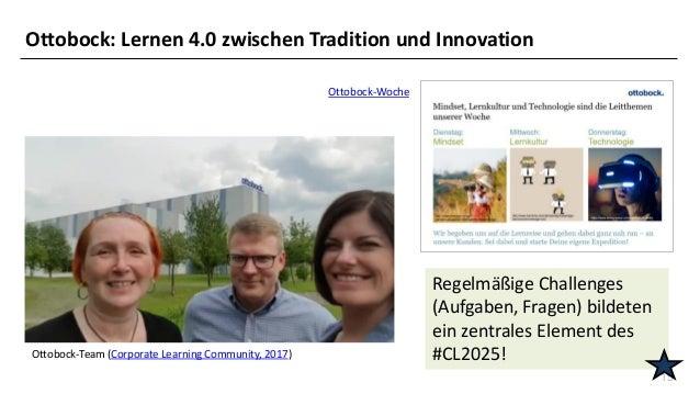 15 Ottobock-Team (Corporate Learning Community, 2017) Ottobock-Woche Regelmäßige Challenges (Aufgaben, Fragen) bildeten ei...