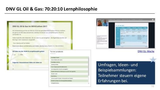 16 DNV GL-Woche Umfragen, Ideen- und Beispielsammlungen: Teilnehmer steuern eigene Erfahrungen bei. DNV GL Oil & Gas: 70:2...