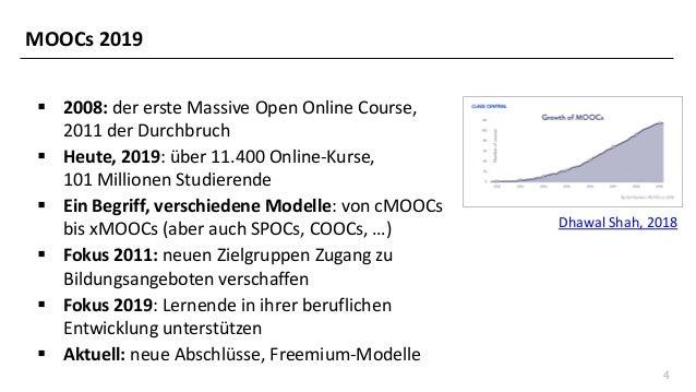 4 ▪ 2008: der erste Massive Open Online Course, 2011 der Durchbruch ▪ Heute, 2019: über 11.400 Online-Kurse, 101 Millionen...