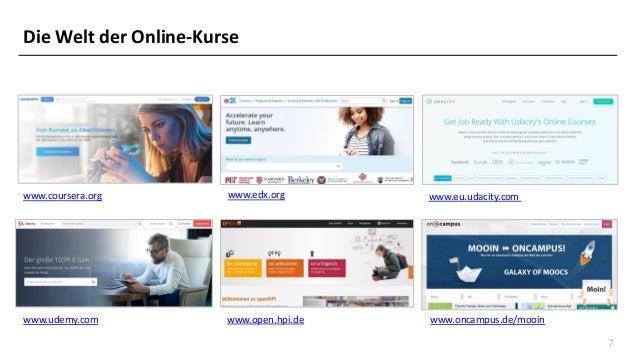 7 Die Welt der Online-Kurse www.coursera.org www.eu.udacity.com www.open.hpi.dewww.udemy.com www.oncampus.de/mooin www.edx...