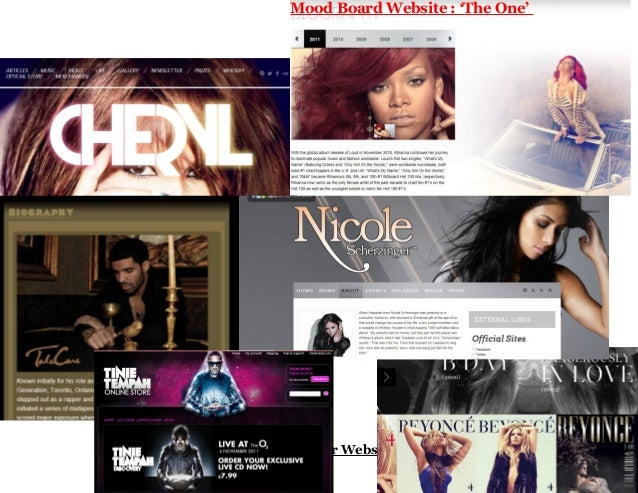 Mood Board Website : 'The One'Mood Board for Website: The One