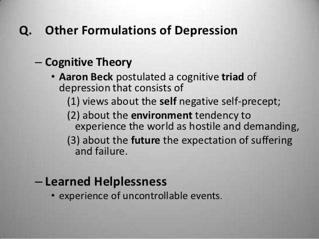 cognitive view of depressive disorders Symptoms of cognitive deficits in depression include the cognitive symptoms (deficits) in depression can be people with major depressive disorder find it.