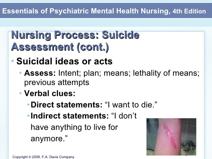 Nursing intervention for suicide and depression