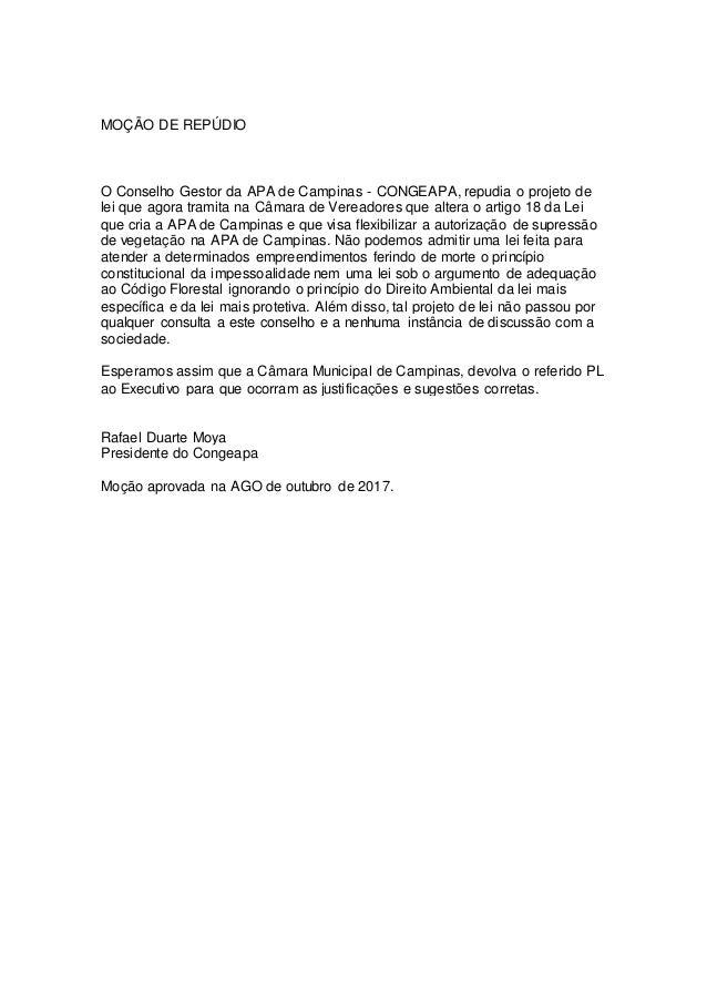 MO��O DE REP�DIO O Conselho Gestor da APA de Campinas - CONGEAPA, repudia o projeto de lei que agora tramita na C�mara de ...