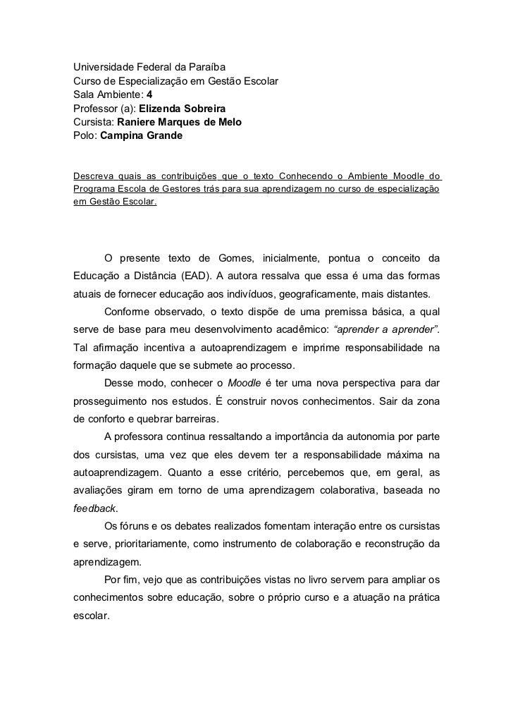 Universidade Federal da ParaíbaCurso de Especialização em Gestão EscolarSala Ambiente: 4Professor (a): Elizenda SobreiraCu...