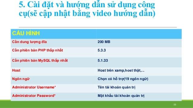 5. Cài đặt và hướng dẫn sử dụng công  cụ(sẽ cập nhật bằng video hướng dẫn)  CẤU HÌNH  Cần dung lượng đĩa 200 MB...