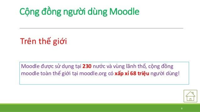 Cộng đồng người dùngMoodle  Trên thế giới  Moodle được sử dụng tại 230 nước và vùng lãnh thổ, cộng đồng  moodle toàn thế g...