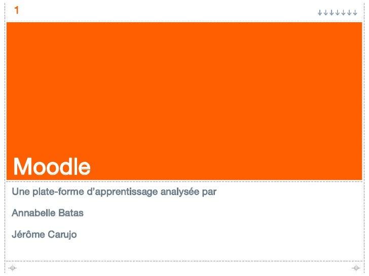 Moodle <ul><li>Une plate-forme d'apprentissage analysée par </li></ul><ul><li>Annabelle Batas </li></ul><ul><li>Jérôme Car...