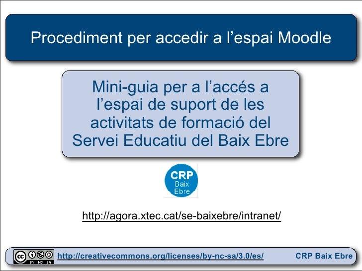 Procediment per accedir a l'espai Moodle           Mini-guia per a l'accés a          l'espai de suport de les         act...