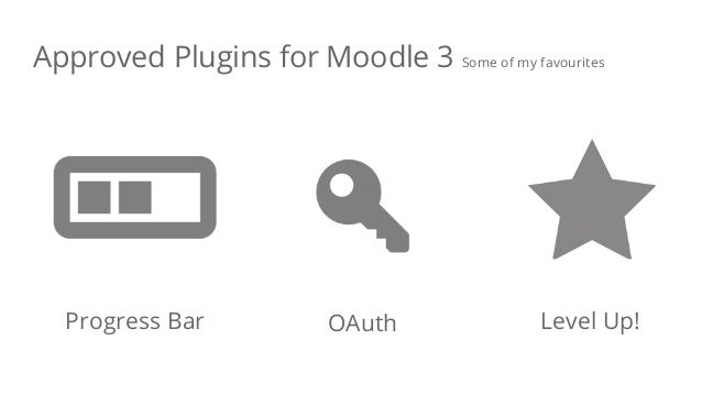 Approved Plugins for Moodle 3 Some of my favourites Progress Bar OAuth Level Up!