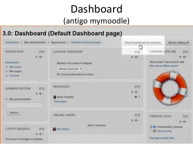 Dashboard (antigo mymoodle) Setar default para todos usuários