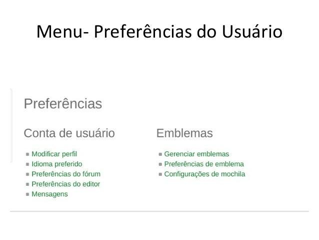 Menu- Preferências do Usuário