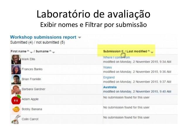 Laboratório de avaliação Exibir nomes e Filtrar por submissão