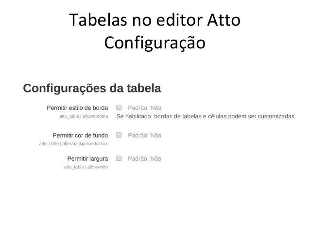 Tabelas no editor Atto Configuração