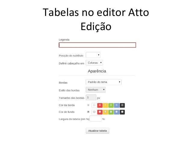 Tabelas no editor Atto Edição