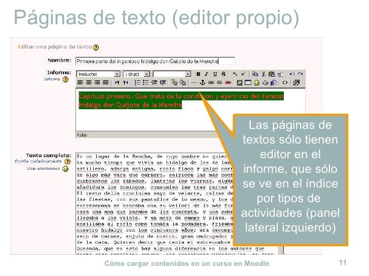 Páginas de texto (editor propio) Las páginas de textos sólo tienen editor en el informe, que sólo se ve en el índice por t...