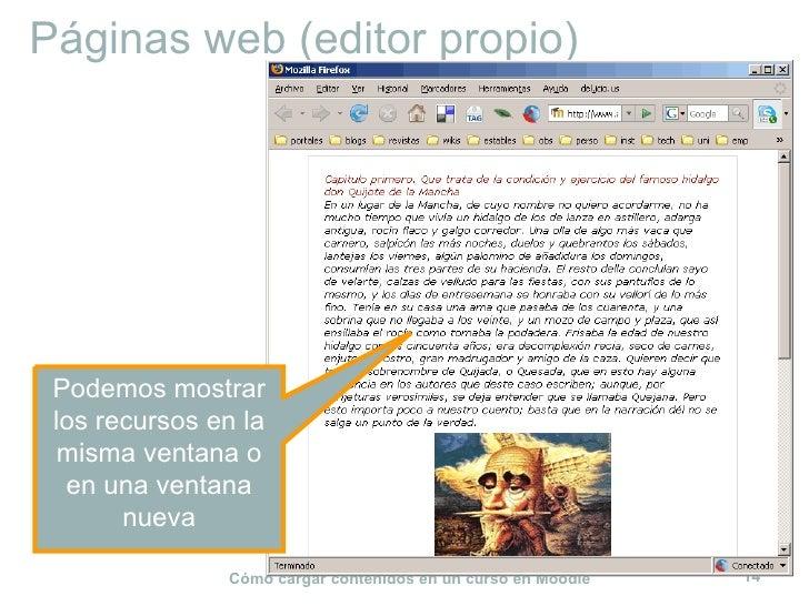 Páginas web (editor propio) Podemos mostrar los recursos en la misma ventana o en una ventana nueva
