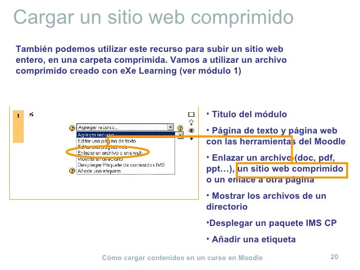Cargar un sitio web comprimido <ul><li>Título del módulo </li></ul><ul><li>Página de texto y página web con las herramient...