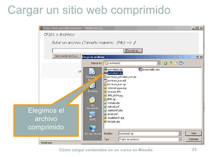 Cargar un sitio web comprimido Elegimos el archivo comprimido