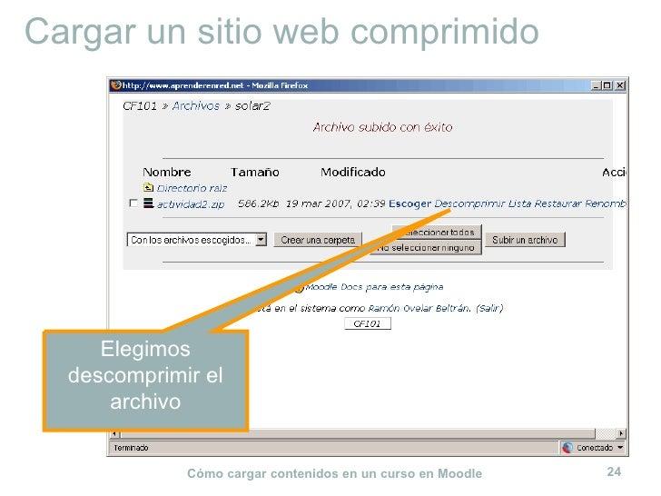 Cargar un sitio web comprimido Elegimos descomprimir el archivo