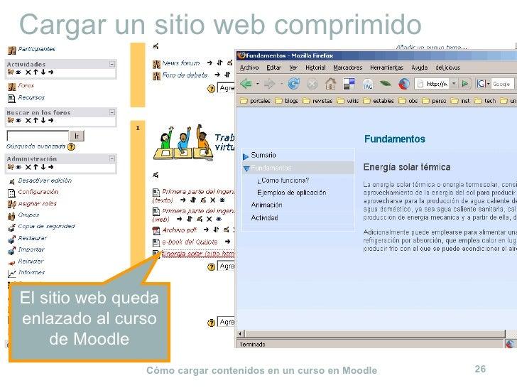 Cargar un sitio web comprimido El sitio web queda enlazado al curso de Moodle