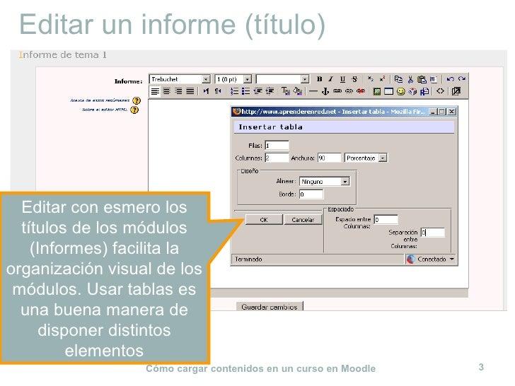 Editar un informe (título) Editar con esmero los títulos de los módulos (Informes) facilita la organización visual de los ...