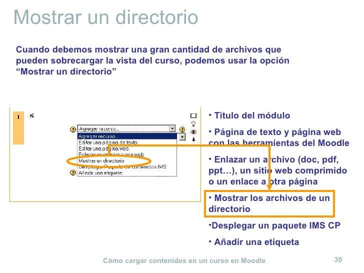 Mostrar un directorio <ul><li>Título del módulo </li></ul><ul><li>Página de texto y página web con las herramientas del Mo...
