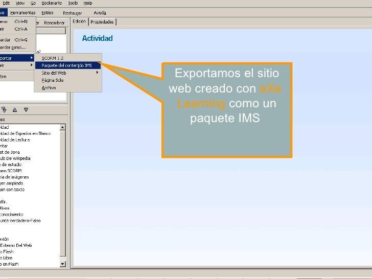 Exportamos el sitio web creado con  eXe   Learning   como un paquete IMS