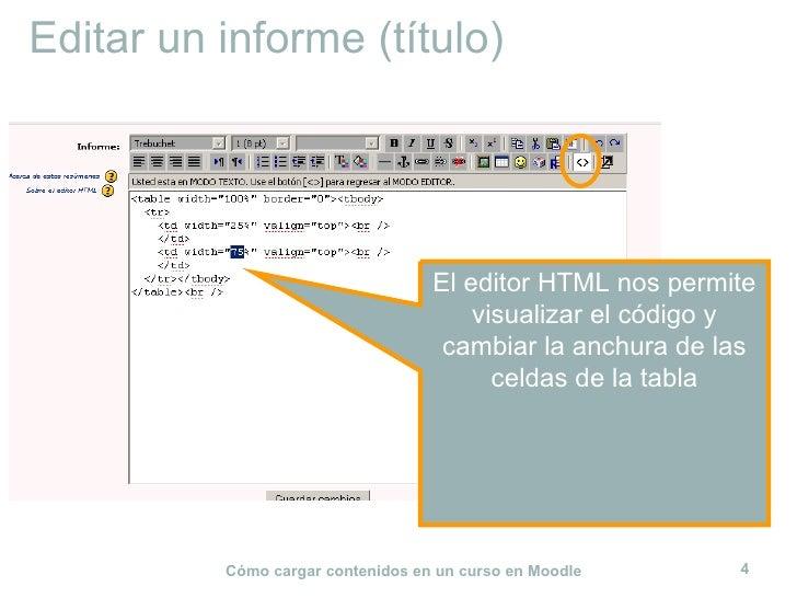 Editar un informe (título) El editor HTML nos permite visualizar el código y cambiar la anchura de las celdas de la tabla