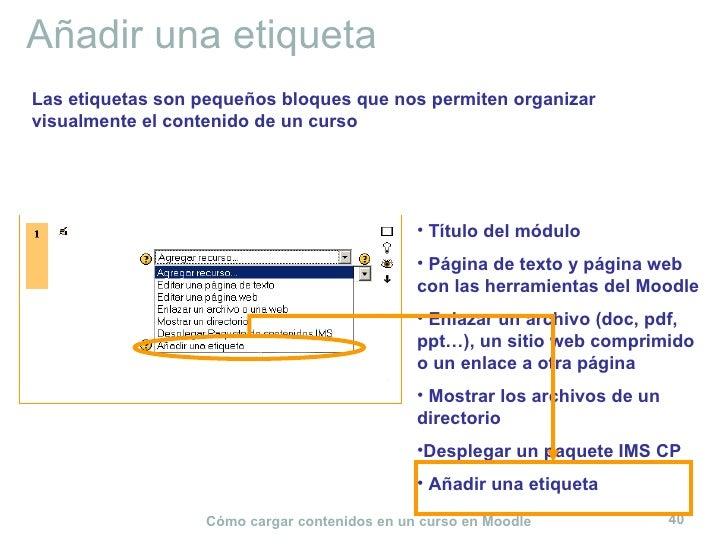 Añadir una etiqueta <ul><li>Título del módulo </li></ul><ul><li>Página de texto y página web con las herramientas del Mood...