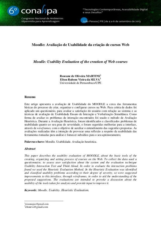 1 Moodle: Avaliação de Usabilidade da criação de cursos Web Moodle: Usability Evaluation of the creation of Web courses Ro...