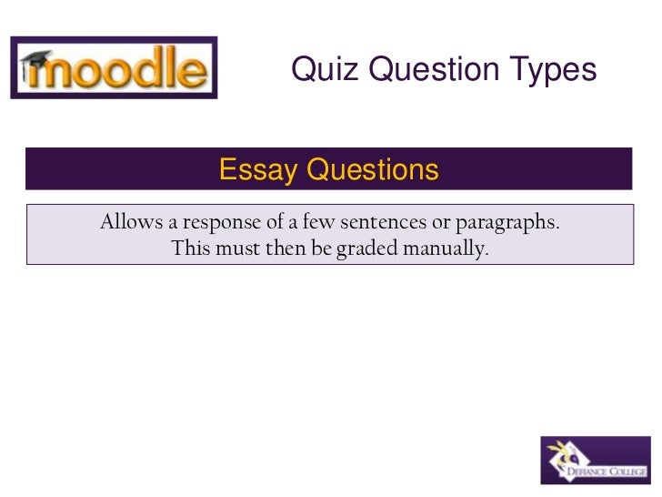 Moodle quiz essay question