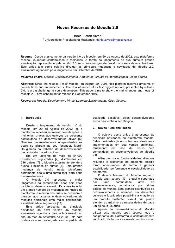 Novos Recursos do Moodle 2.0 (Paper)