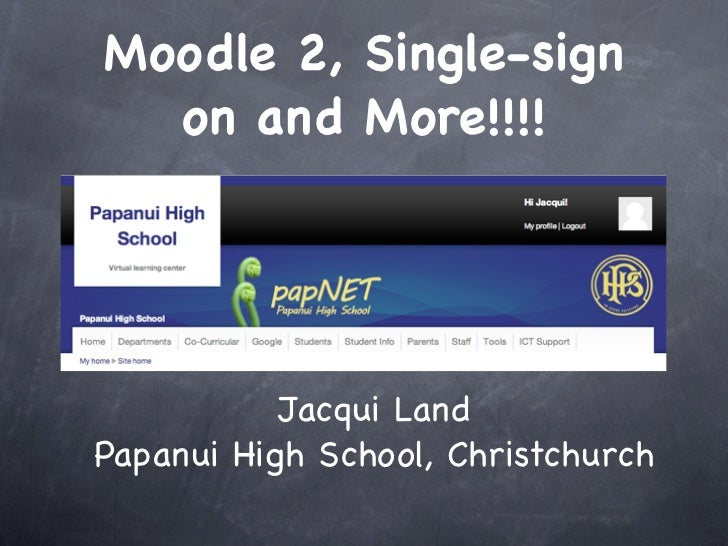 Moodle 2, Single-sign  on and More!!!!           Jacqui LandPapanui High School, Christchurch