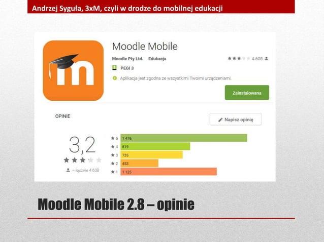 Moodle Mobile 2.8 – opinie Andrzej Syguła, 3xM, czyli w drodze do mobilnej edukacji
