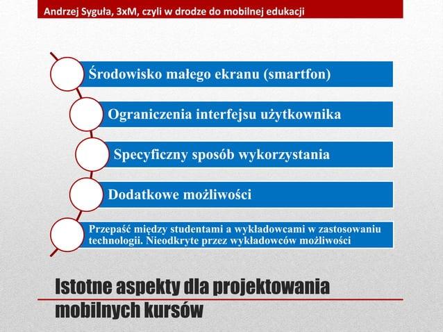 Środowisko małego ekranu (smartfon) Ograniczenia interfejsu użytkownika Specyficzny sposób wykorzystania Dodatkowe możliwo...