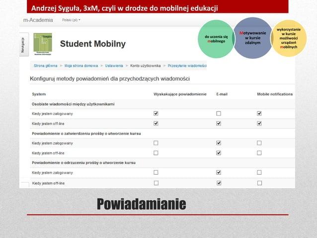 Powiadamianie Andrzej Syguła, 3xM, czyli w drodze do mobilnej edukacji Motywowanie w kursie zdalnym wykorzystanie w kursie...