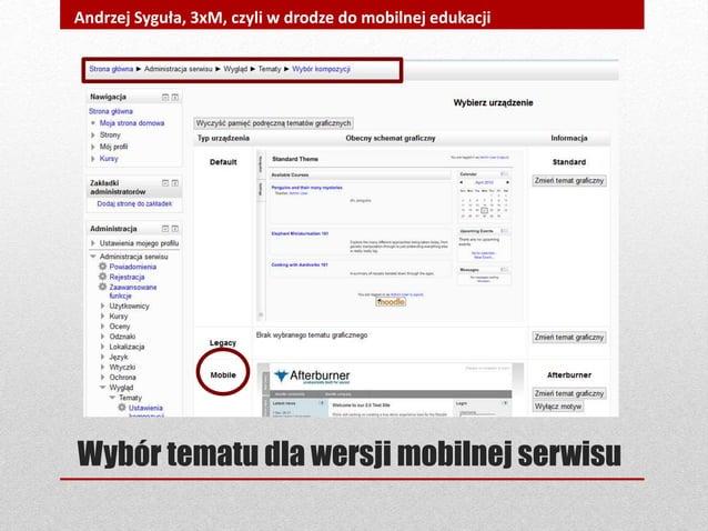 Wybór tematu dla wersji mobilnej serwisu Andrzej Syguła, 3xM, czyli w drodze do mobilnej edukacji