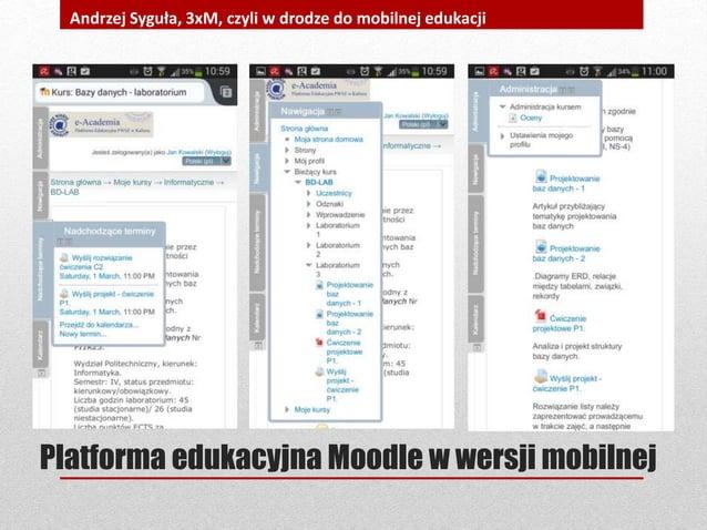 Platforma edukacyjna Moodle w wersji mobilnej Andrzej Syguła, 3xM, czyli w drodze do mobilnej edukacji