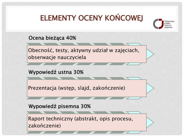 ELEMENTY OCENY KOŃCOWEJ Ocena bieżąca 40% Obecność, testy, aktywny udział w zajęciach, obserwacje nauczyciela Wypowiedź us...