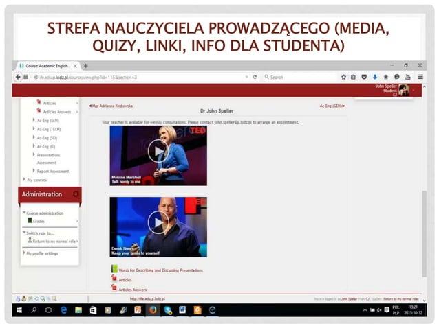 STREFA NAUCZYCIELA PROWADZĄCEGO (MEDIA, QUIZY, LINKI, INFO DLA STUDENTA)