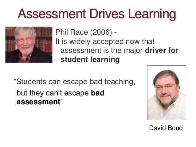 """Assessment Drives Learning """"Students can escape bad teaching, Phil Race (2006) - It is widely accepted now that assessment..."""